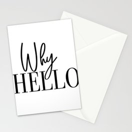 Why Hello, Why Hello Print, Why Hello Printable, Affiche Scandinave, Black and White, Motivational P Stationery Cards