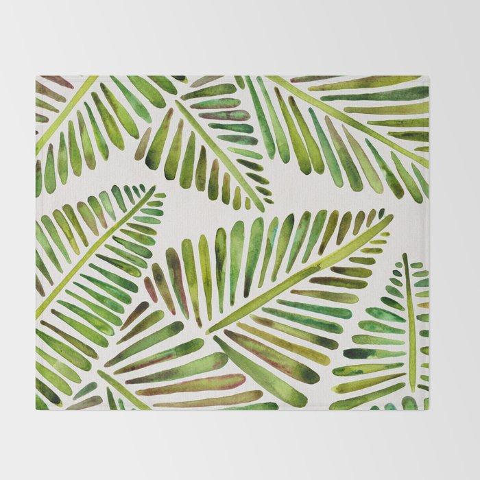 Tropical Banana Leaves – Green Palette Throw Blanket