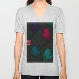 Fun With Coloring Floral Print 4 Unisex V-Neck