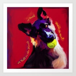 A Ball in the Mouth Art Print