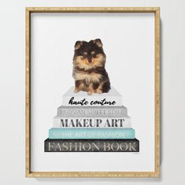 Black and tan, Pom, pomeranian, Books, Fashion books, Teal, Fashion, Fashion art, fashion poster Serving Tray