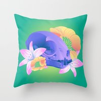 animal skull Throw Pillows featuring Animal Skull and Flowers  by kellyhalloran