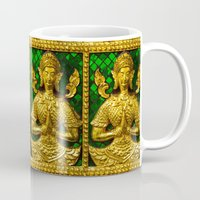 buddah Mugs featuring praying budda by Marina Kuchenbecker