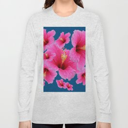 TEAL MODERN ART GIRLY PINK HIBISCUS Long Sleeve T-shirt