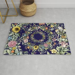 Circle of Life in Navy Blue Rug