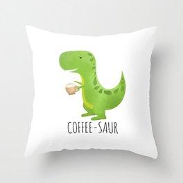 Coffee-saur Throw Pillow