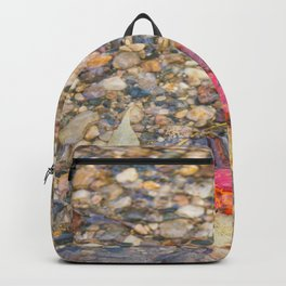 Red Leaf Stuck Among Watery Rocks Backpack
