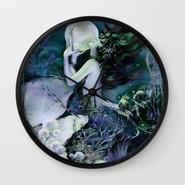 Henry Clive: Mermaid With A Pearl Blue Green Wall Clock