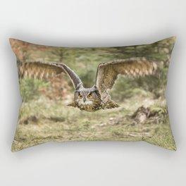 Eagle Owl In Flight Rectangular Pillow