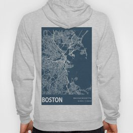 Boston Blueprint Street Map, Boston Colour Map Prints Hoody