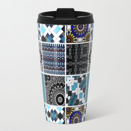 Patchwork . Blue , black and grey . Travel Mug