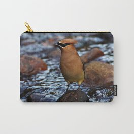 Cedar Waxwing on Rock Carry-All Pouch