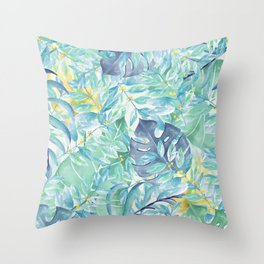 Modern teal green yellow watercolor tropical leaves Throw Pillow