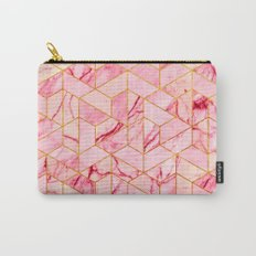 Pink Marble Hexagonal Pattern Carry-All Pouch