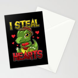 I Steal Hearts - Cute T-Rex With Dinosaur Heart Stationery Cards