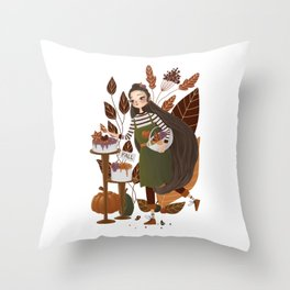 Cute Autumn Baker Throw Pillow