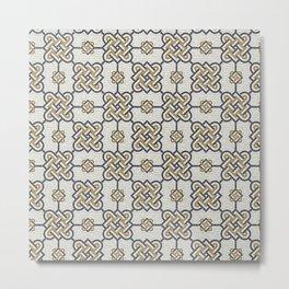 Roman motive stone mosaic geometric pattern Metal Print
