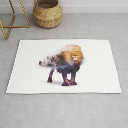 Lion Double exposure art Rug