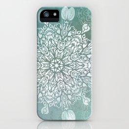 Turquoise Batik Mandala Float iPhone Case