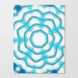 Cyan Glow Kaleidoscope 18 Canvas Print