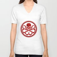 hydra V-neck T-shirts featuring Hail Hydra! by livinginamovie