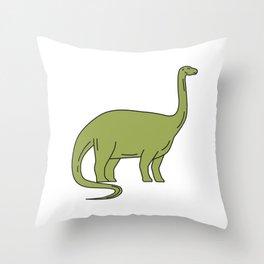 Brontosaurus Mono Line Throw Pillow
