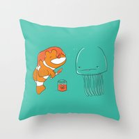 jellyfish Throw Pillows featuring Jellyfish by Lili Batista