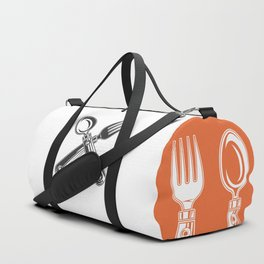 Dining set - a spoon and a fork. Lover to eat. Hungry. Glutton. Heavy eater. Eat. Food. Duffle Bag