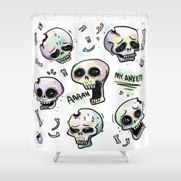 Anxiety Skulls Shower Curtain