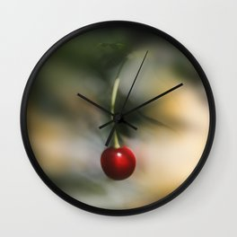 Abstract photograph of red cherry. Wall Clock