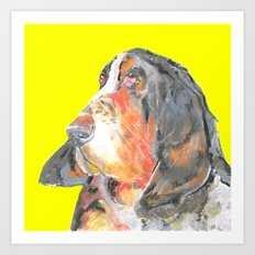 Basset Hound , Jiri Bures original art and design Art Print