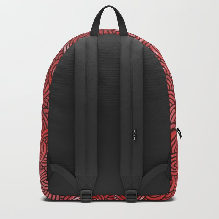 Red and black swirls doodles Backpack