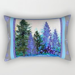 GREY WINTER SNOWFLAKE  CRYSTALS FOREST ART Rectangular Pillow
