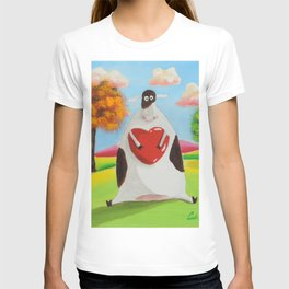 Cute cow with a heart T-shirt