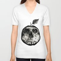 apple V-neck T-shirts featuring Apple by Black Bird