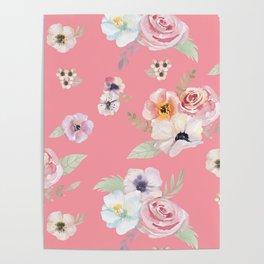 Floral I - Pink Poster