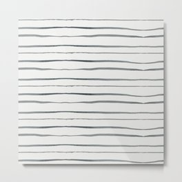 Hand painted white gray watercolor striped pattern Metal Print