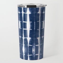 Shibori Stripes 3 Indigo Blue Travel Mug