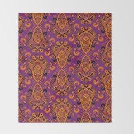 Golden Paisley Purple Throw Blanket