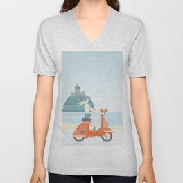 Summer Scooter Ride in Cornwall Unisex V-Neck