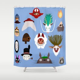 The many faces of Ghibli Shower Curtain