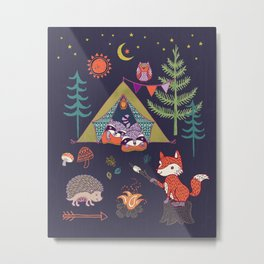 Racoon's Campout Metal Print