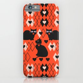 Cats and hearts with diamonds iPhone Case