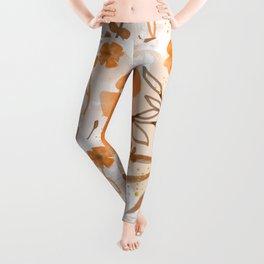 Orange Watercolor Floral Pattern Leggings