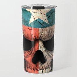 Dark Skull with Flag of Texas Travel Mug