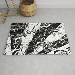 Rays Of Marble - Black and White, marble textured, abstract art Rug