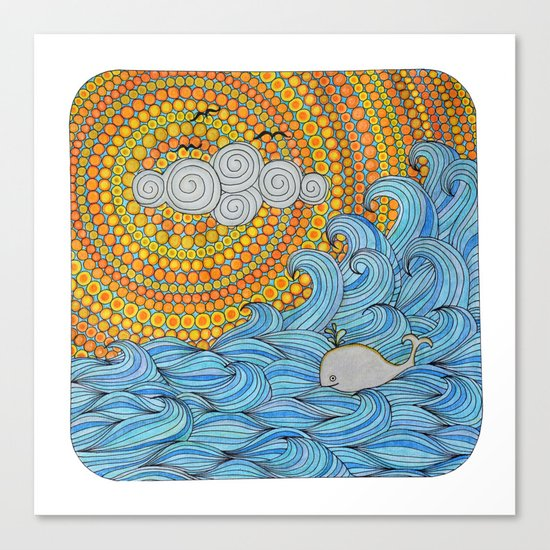 Happy whale Canvas Print