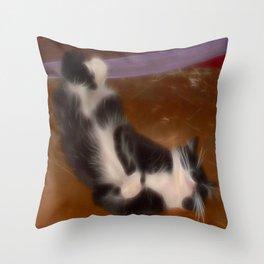 Cute sleeping kitty Throw Pillow
