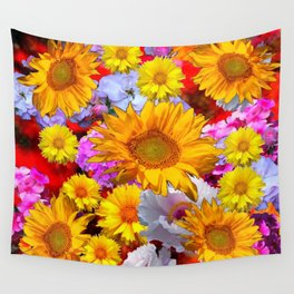 YELLOW FLOWERS FLORAL RED  ART PATTERN Wall Tapestry