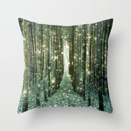 Magical Forest Old Money Green Throw Pillow